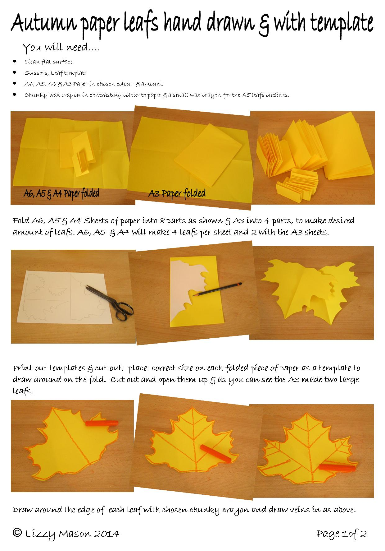 How to make paper autumn leaves with templates & wax crayons