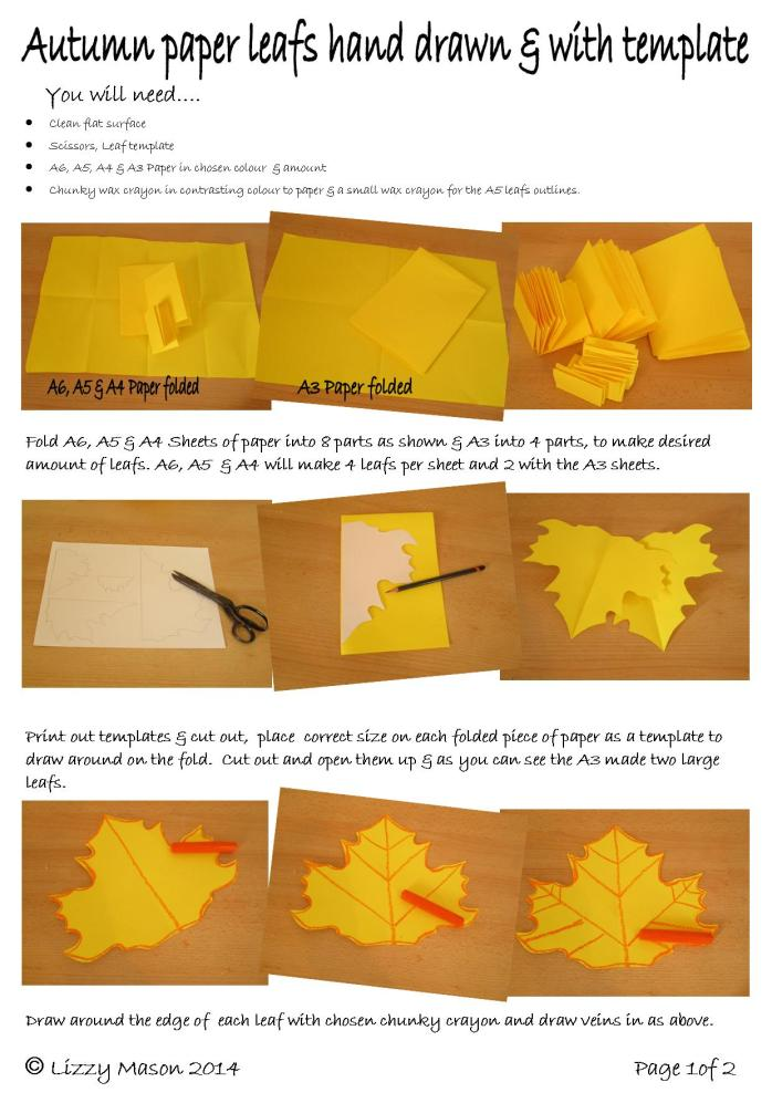 Hand drawn paper autunm leafs 1