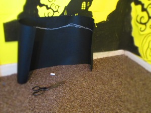 Next I got another bit of A2 black paper and made a mound/ground area, using chalked area to gage shape.