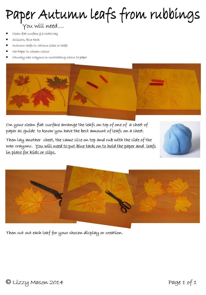 Paper leafs for autunm with rubbings