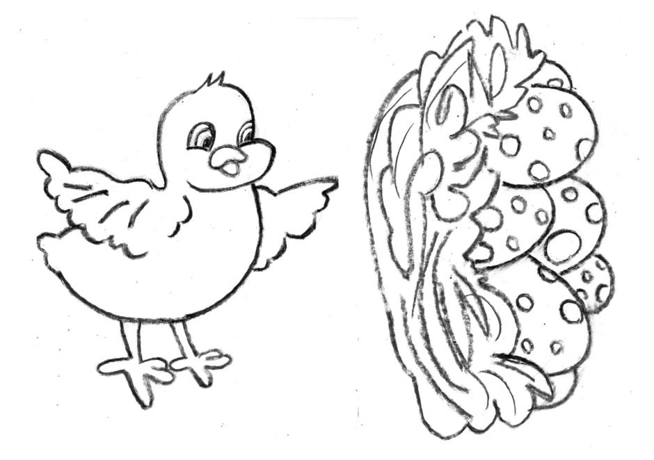 Easter eggs, nest and chick