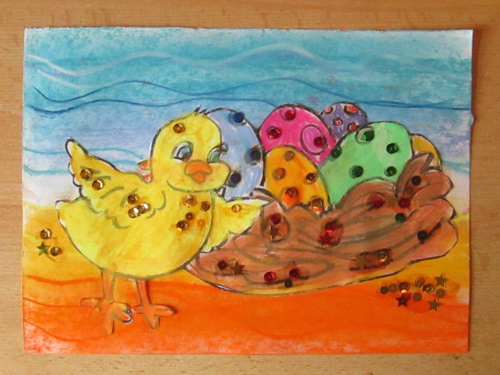 One pastel chick and nest of eggs, what will your look like?Let your imagination play and see a inner land of pastel play the possibilities are endless.