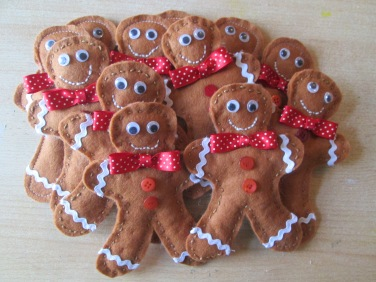 A dozen felt gingerbread men for your traditional style Christmas tree.